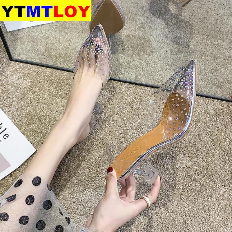 New 2020 Pvc Clear Transparent Fetish Luxury Designer Woman Extreme Mules Super High Heels Women Sexy Shoes Ladies Pumps Sandals