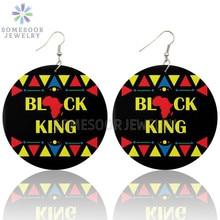 SOMESOOR rois noirs imprimés boucles doreilles en bois mélanine vies matière inspirer dictons grandes boucles balancent bijoux pour femmes cadeaux