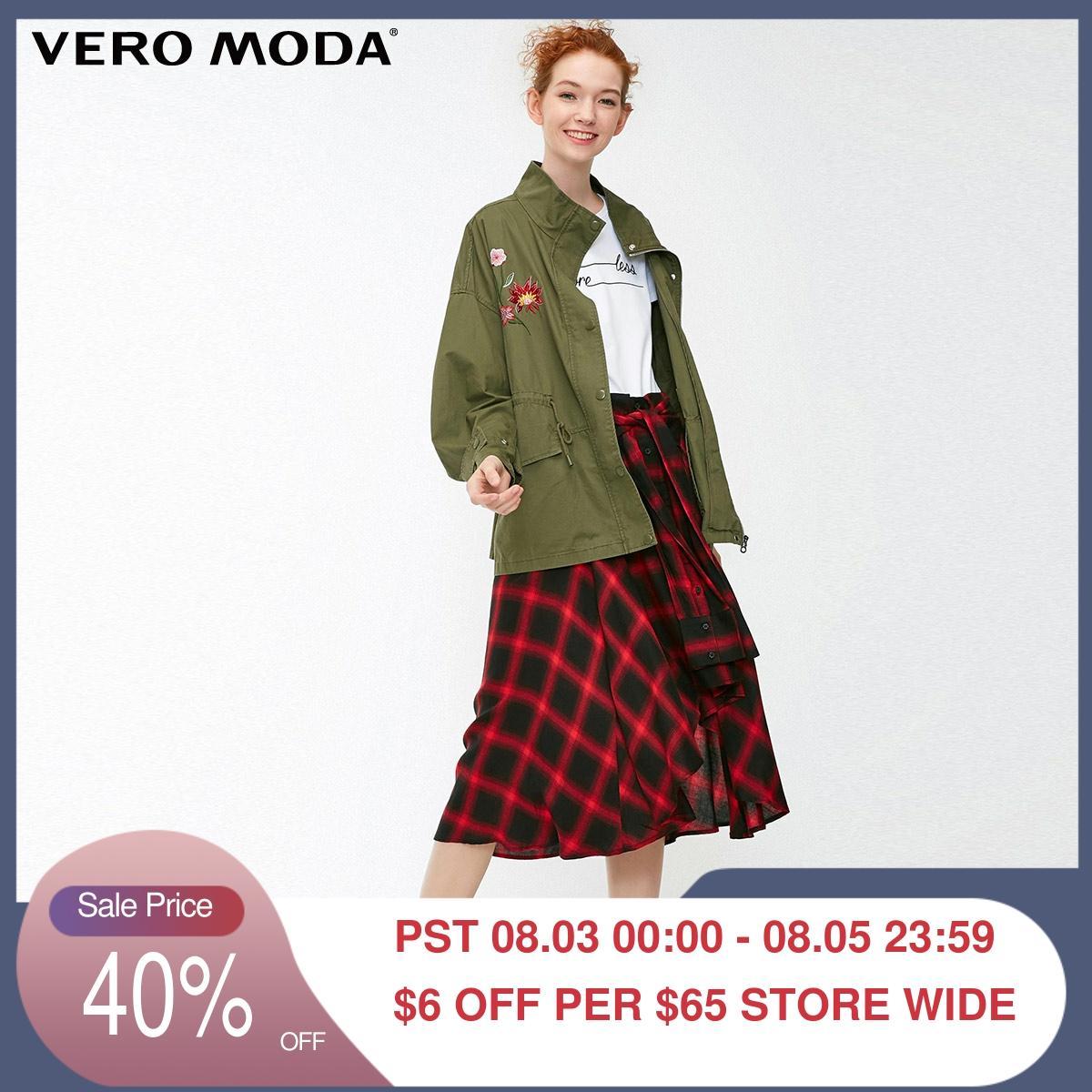 Vero moda Novo Estilo Militar das Mulheres Bordado Floral Cordão Cintura Zipado Jaqueta Pescoço Mock   318321538