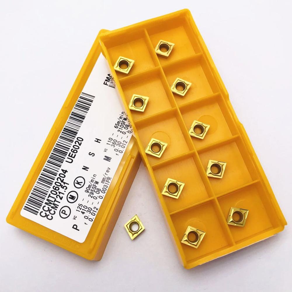 10 pçs ccmt060204 ue6020 alta qualidade universal liga dura ccmt060204 cnc torno ferramenta acessórios da máquina ferramenta de torneamento