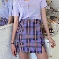 korean colored plaid skirt women 2021 student chic short skirts sexy mini skirts spring summer female skirts with belt
