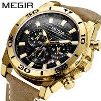 MEGIR Fashion Men's Watch Multi-function True Three-eye Quartz Date Leather Strap Sports Reloj Hombre Clock