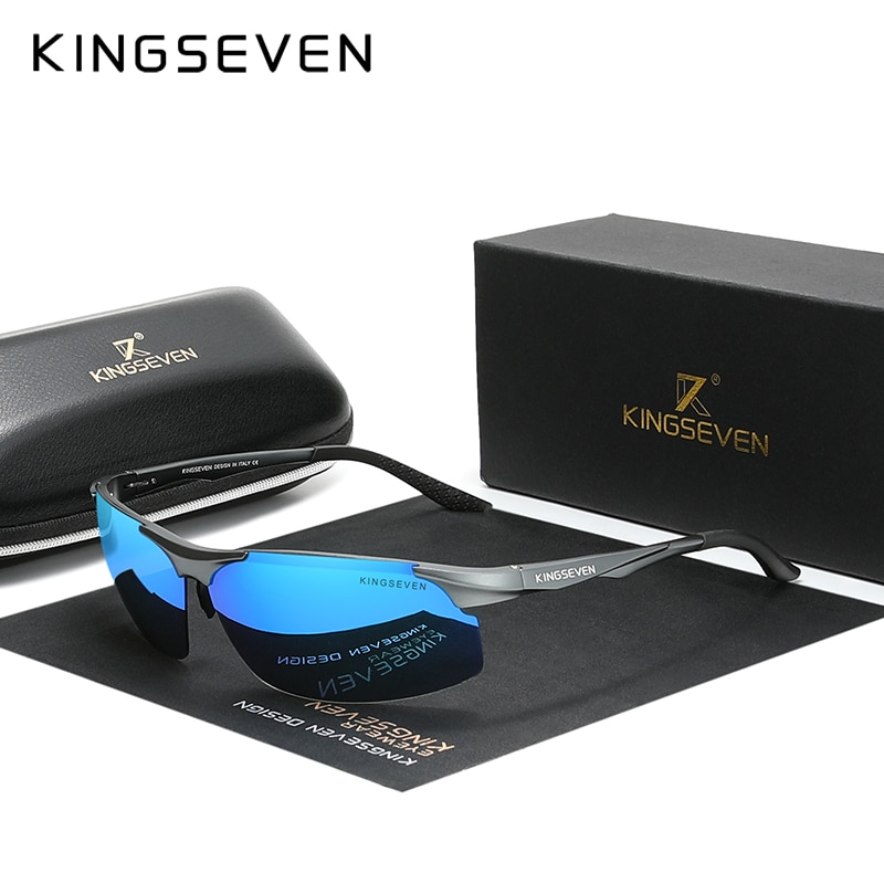 Genuine KINGSEVEN Polarized Men Aluminum Sunglasses Driving Mirror Lens Male Sun Glasses Aviation Wo
