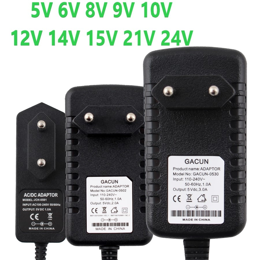 5V 6V 8V 9V 10V 12V Power Supply Adapter 15V 24V 1A 2A 3A AC DC Transformer 220V To 12V 5V 9V 24V Power Supply 5 9 12 24 V Volt