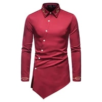 new spring 2021 shirt men vintage court style embroidered shirt asymmetrical long sleeved shirt solid color top mens shirt