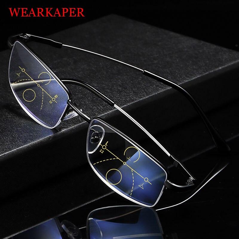 WEARKAPER ultraléger demi F zoom intelligent titane progressif Multifocal lunettes de lecture hommes femmes presbytie hyperopie