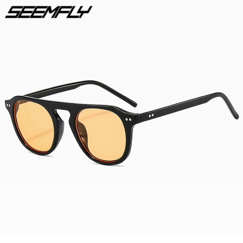Seemfly Round Frame Sunglasses Men Women Retro Colorful Lens Sun Glasses High Quality UV400 Shades D