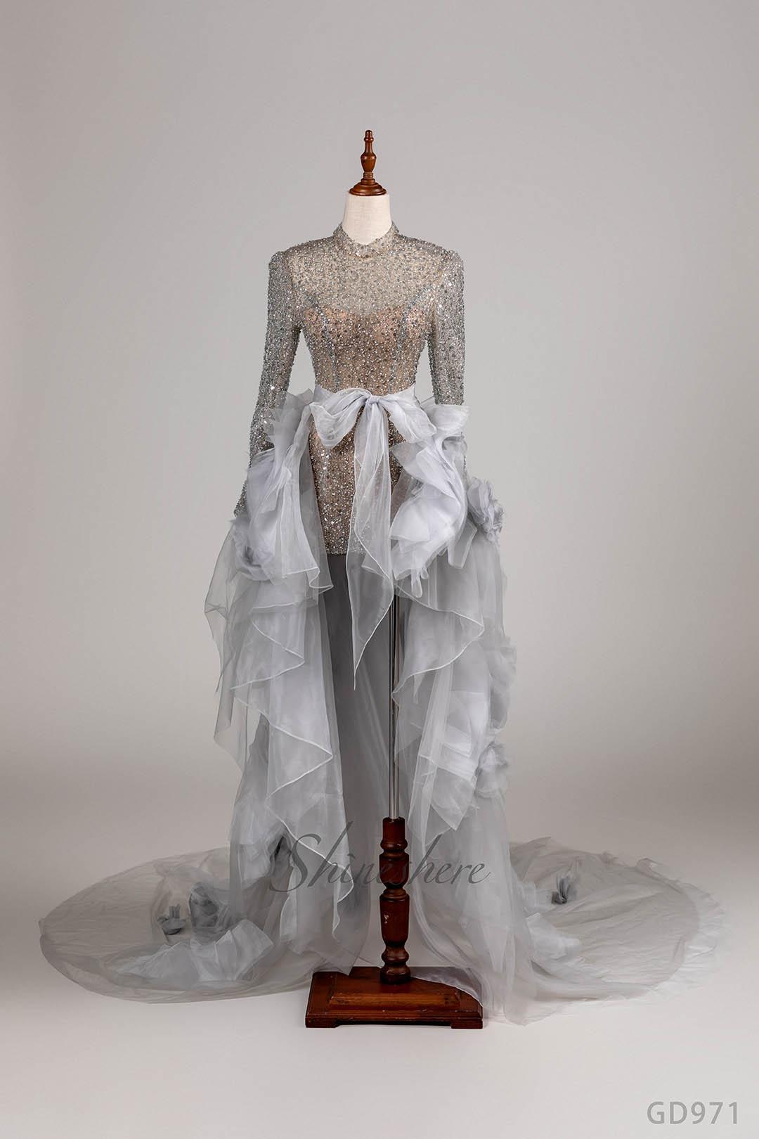 Jusere فستان الزفاف فستان قصير مع سويب تراين كم طويل بدون ظهر دانتيل رقبة عالية خرز فستان زفاف