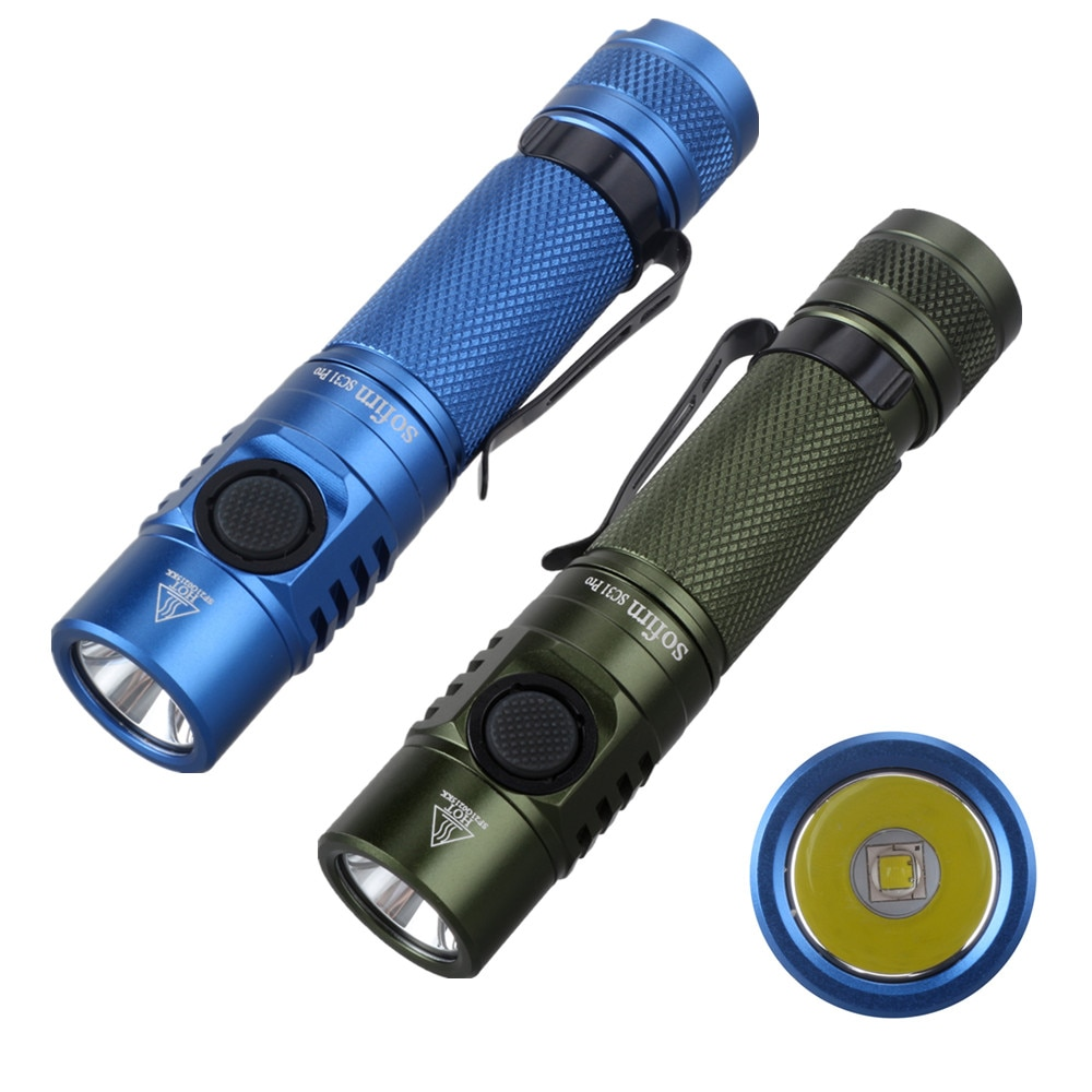 Sofirn SC31 Pro SST40 Powerful 2000LM LED Flashlight 18650 Torch USB C Rechargeable Anduril UI Blue Green Black Color