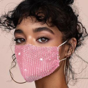 Fashion Jewelry Mask With Shinny Rhinestone Reusable Washable Face Cover With Rhinestone Decoration Face Jewelry Mouth Cover