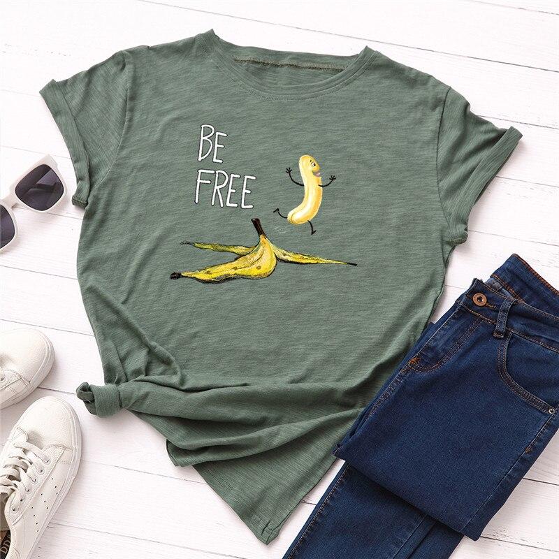 Camiseta de Ropa de talla grande con dibujo de plátano párr mujer...