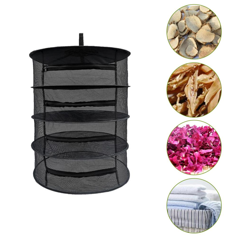 Drying Net Multi-Layer Hanging Basket With Zipper Folding Dry Rack Herb Dryer Bag Mesh For Herbs Flowers Buds Planting Drying