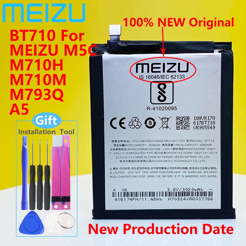 Meizu 100% Original 3060mAh BT710 Battery For Meizu M5c M710M M710H M793Q Blue A5 Phone High Quality Battery+Tracking Number недорого
