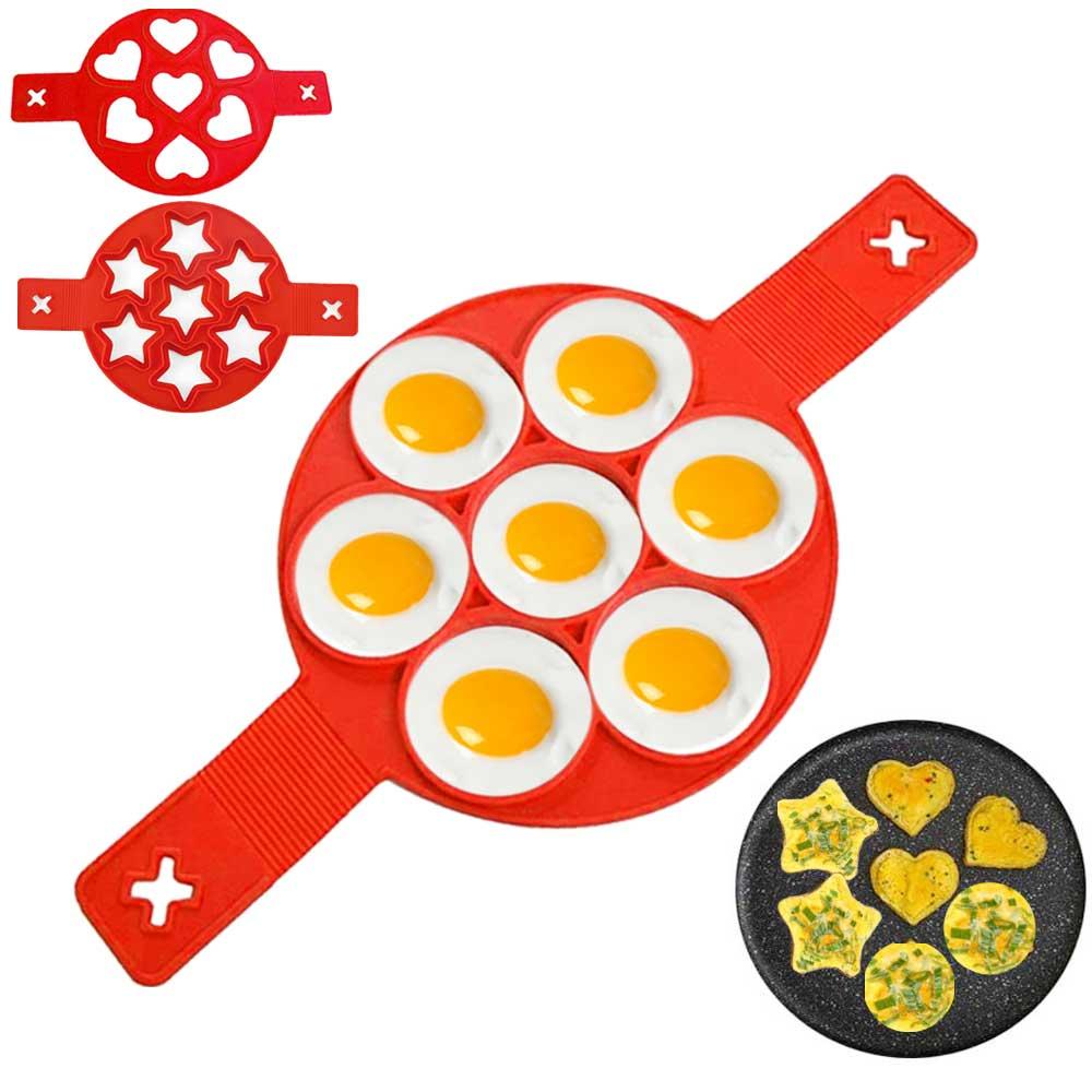 Molde de omelete para ovo frio de 7 buracos, molde antiaderente para panquecas, utensílio de silicone para cozinhar ovos molde de anel de ovo