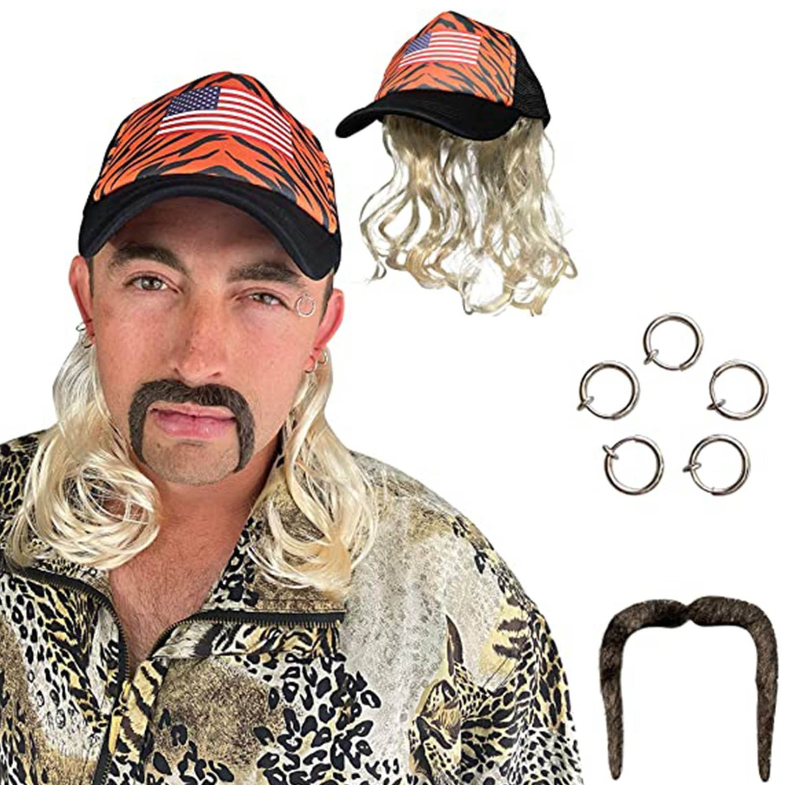 Tiger King Costume Set - Joe Exotic Cosplay - Blonde Wig With Hat, Clip Earrings, And Mustache - Fits Kids And Adults
