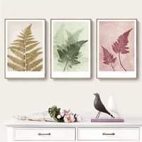 retro style colorful leaf specimen poster and prints wall art canvas painting home decorative pictures for living room no frame