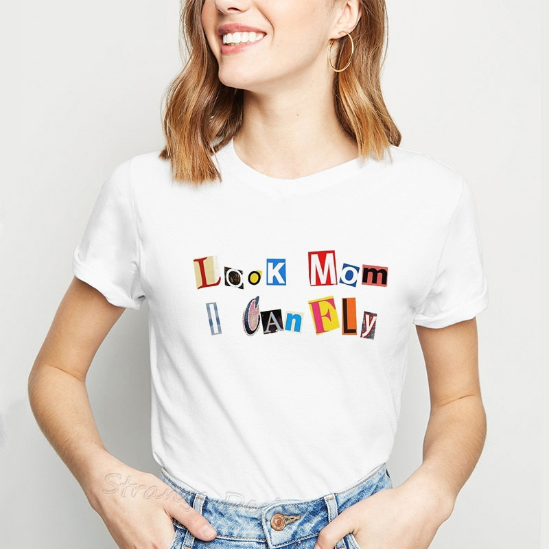 Mira mamá I Can Fly letras impresas camisetas para mujer astropworld camiseta para mujeres deseo que estés aquí camisetas blancas