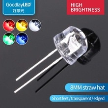 1000PCS 8mm straw hat  high brightness  short feet white light red blue green yellow  straight insert LED light-emitting diode