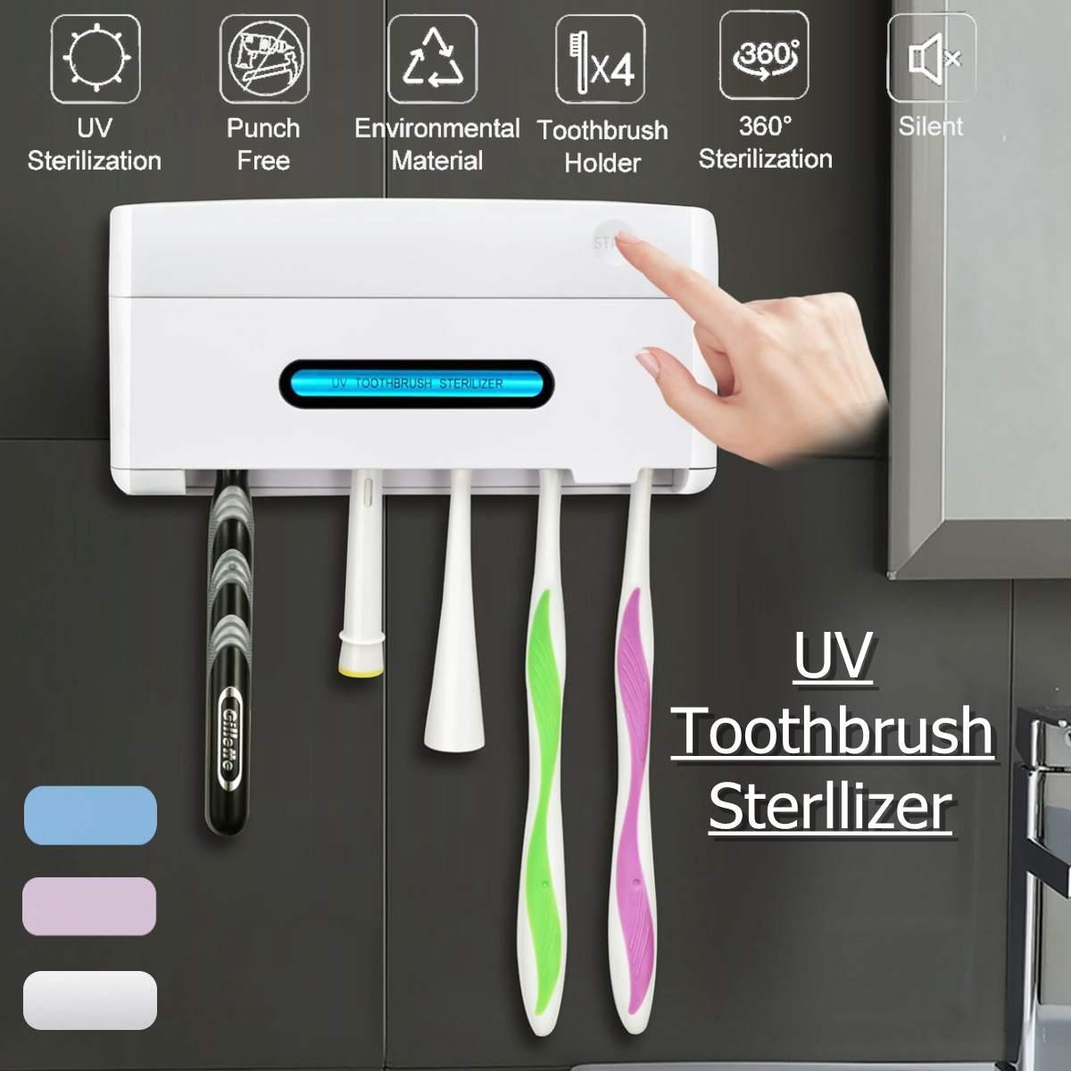 UV Inteligente Indução Anti-Bactérias Luz UV Desinfetante Titular Escova De Dentes Esterilizador Caixa de Limpeza Oral Assistência Odontológica