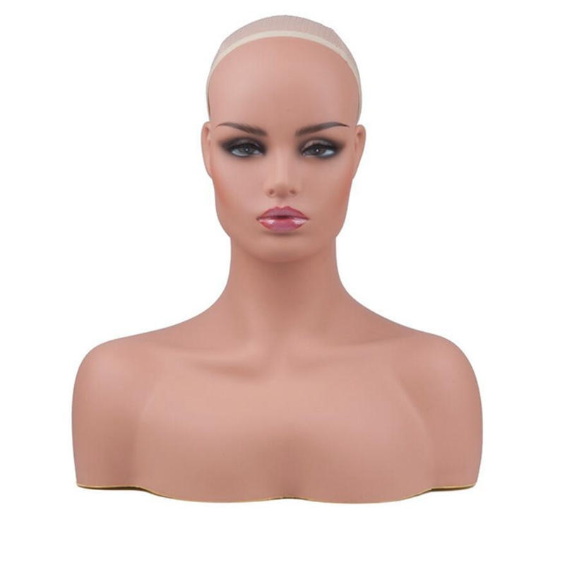 2pcs New Realistic PVC Female Mannequin Head With Shoulder Display Wig Hat Glasses Diamond Necklace Display Mold Stand
