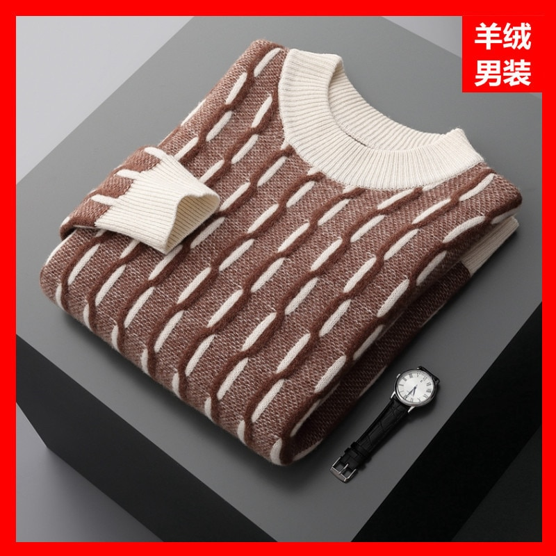 Winter Wool Men Brown Thick round Neck Casual Regular Solid Color Youth Spot Cashmere Sweater Men