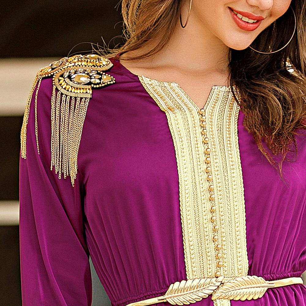Wepbel Handmade Beaded Tassel Abaya Women Muslim Dresses Epaulet Middle East Robe Plus Size Woven Silk Belt Caftan Kimono
