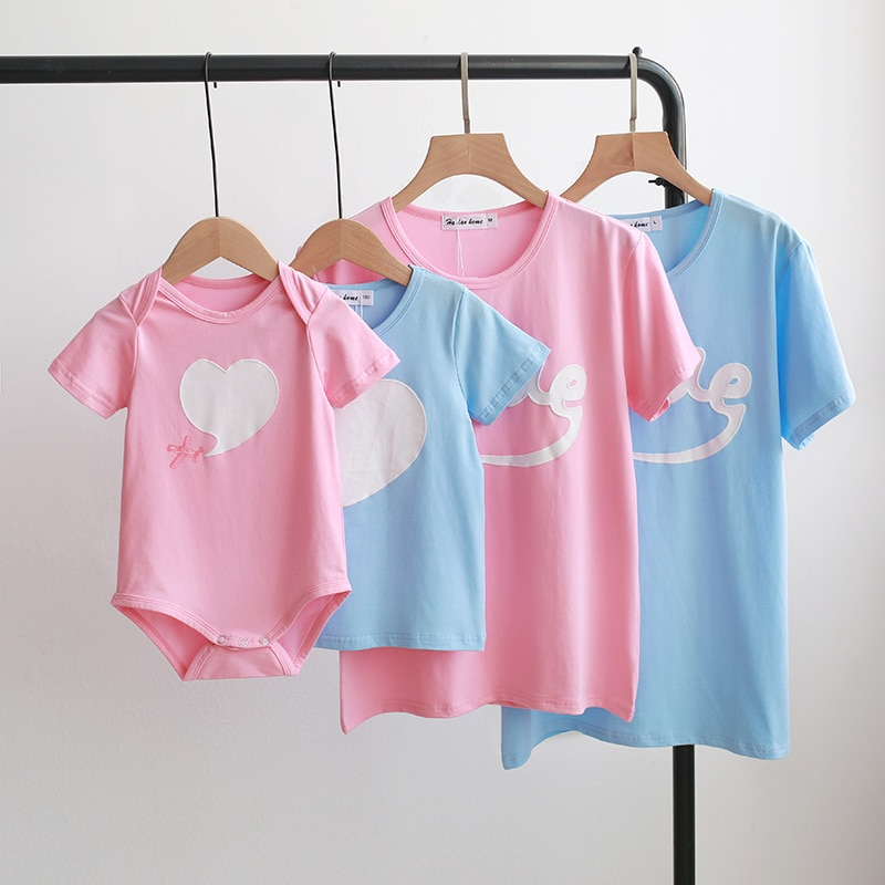 Family Clothes Summer Mother And Daughter Outfit T-shirt Baby Romper Clothes Cotton O-neck Love Shor