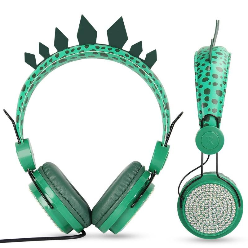 3.5mm Cartoon Green Dinosaur Children's Wired Headphone With Microphone High Quality Stereo Sound Earphone Protect Hearing enlarge