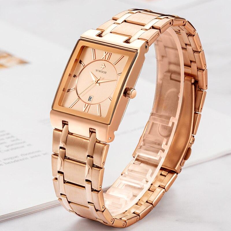 WWOOR New Fashion Ladies Square Watch Women Top Brand Luxury Rose Gold Quartz Wrist Watch Women Dress Waterproof Clock Gift 2020 enlarge