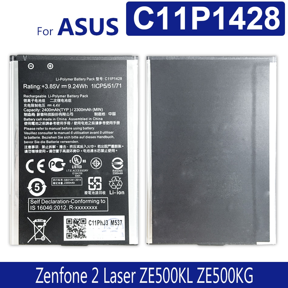 "Bateria de telefone de alta capacidade c11p1428 para asus zenfone2 laser 5 ""ze500kl ze500kg z00ed 2000 mah"