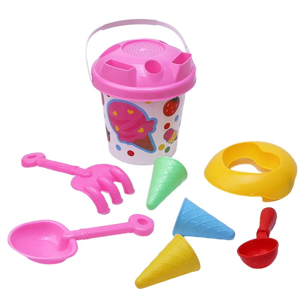 Набор из 8 предметов пляжные игрушки песок игрушки для песочницы льда формы для крема жестяное ведерко