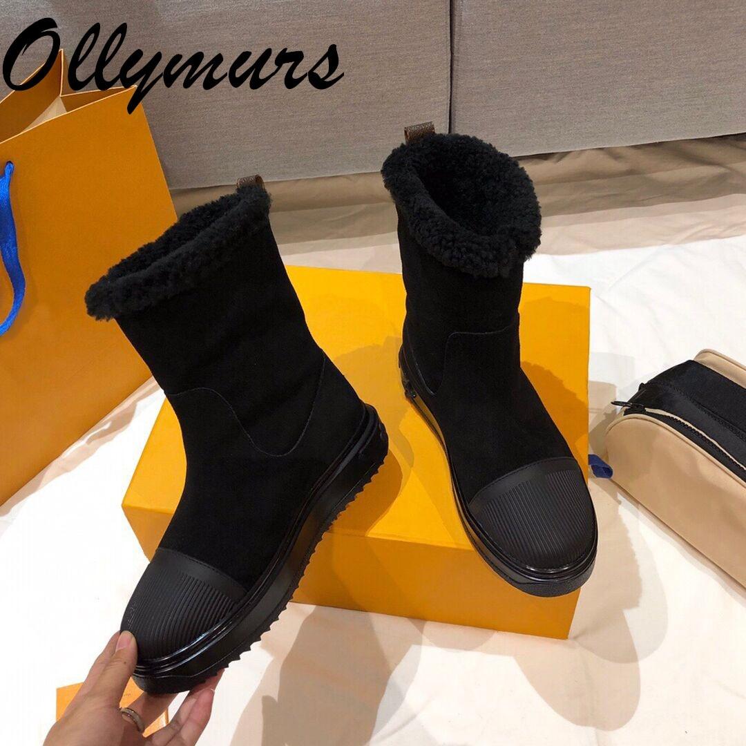 Prowow New Genuine Leather Luxury Designer Boots Gladiator Fur Winter Warm Snow Boots fashion Combat