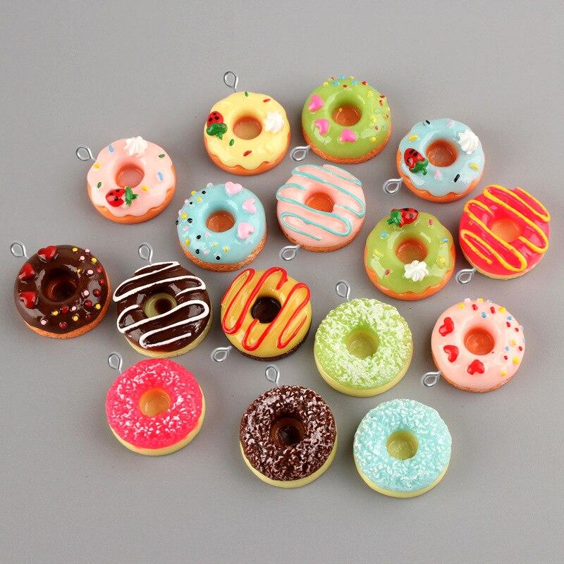 10pcs 24 MILÍMETROS Resina cabochon Rosquinha Donut pingente encanto do coração em miniatura artesanato Material de fabricação de jóias Criativo Diy Acessórios