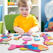 JINLETONG 4 In 1 Kids Montessori 3d Puzzle Dimensional Puzzle Cartoon Animal Baby Hand Grasping Wood