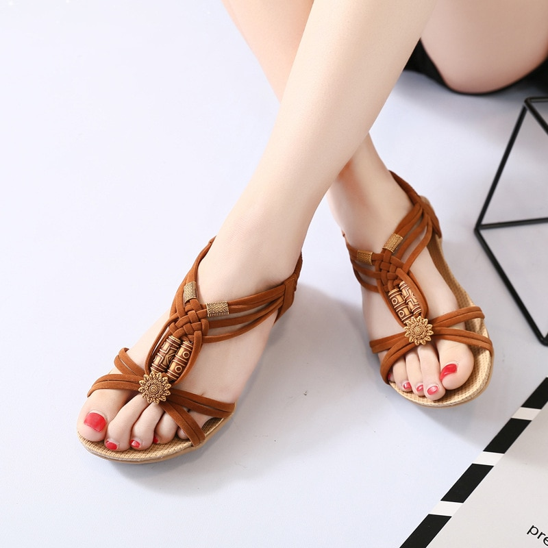 Sandals Women Spring And Summer New Bohemian flat fish Bone Sandals Craft Improved Version Of Beaded Handmade Roman Sandals
