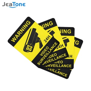 4 Pcs Warning Stickers Surveillance Security Camera Alarm Sticker Warning Decal Signs, Waterproof Frosted Texture Warning Tape
