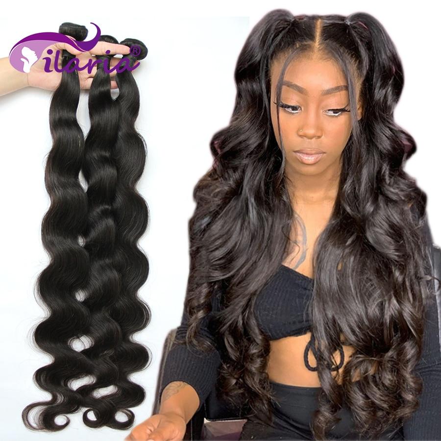 ILARIA Body Wave Brazilian Hair Weave Bundles 100% Human Hair Bundles 3 4 PCS 30 32 34 36 38 40 Inches Remy Hair Extensions