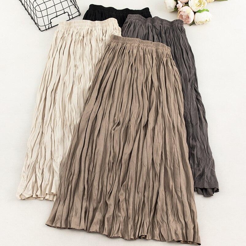 Coreano 2019 Falda plisada Midi de diseñador de pasarela de alta cintura Color sólido Beige/marrón/gris/Negro falda para mujer nueva moda