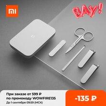 XIAOMI Mijia-Juego de cortaúñas portátil de acero inoxidable para manicura y pedicura, absorción magnética, 5 uds.