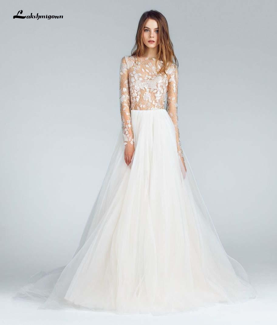 Hermosos vestidos de novia línea A 2020 joya de manga larga ilusión Apliques de encaje faldas de tul hecho A medida vestidos de novia