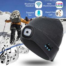 Winter musik Hut Drahtlose Bluetooth V 5,0 Smart Kappe Kopfhörer Headset Mit 4 LED Licht Handfree Musik Kopfhörer für smartphone