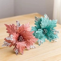 artificial flowers christmas tree christmas simulation flower xmas ornament tree hanging ornament flannel decor for home