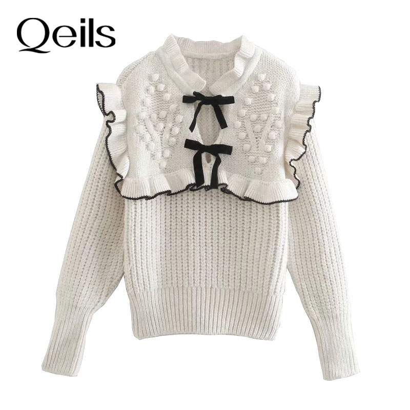 Qeils Women Fashion With Bow Tie Patchwork Knitted Sweater Casual Vintage Long Sleeve Ruffle Trims F