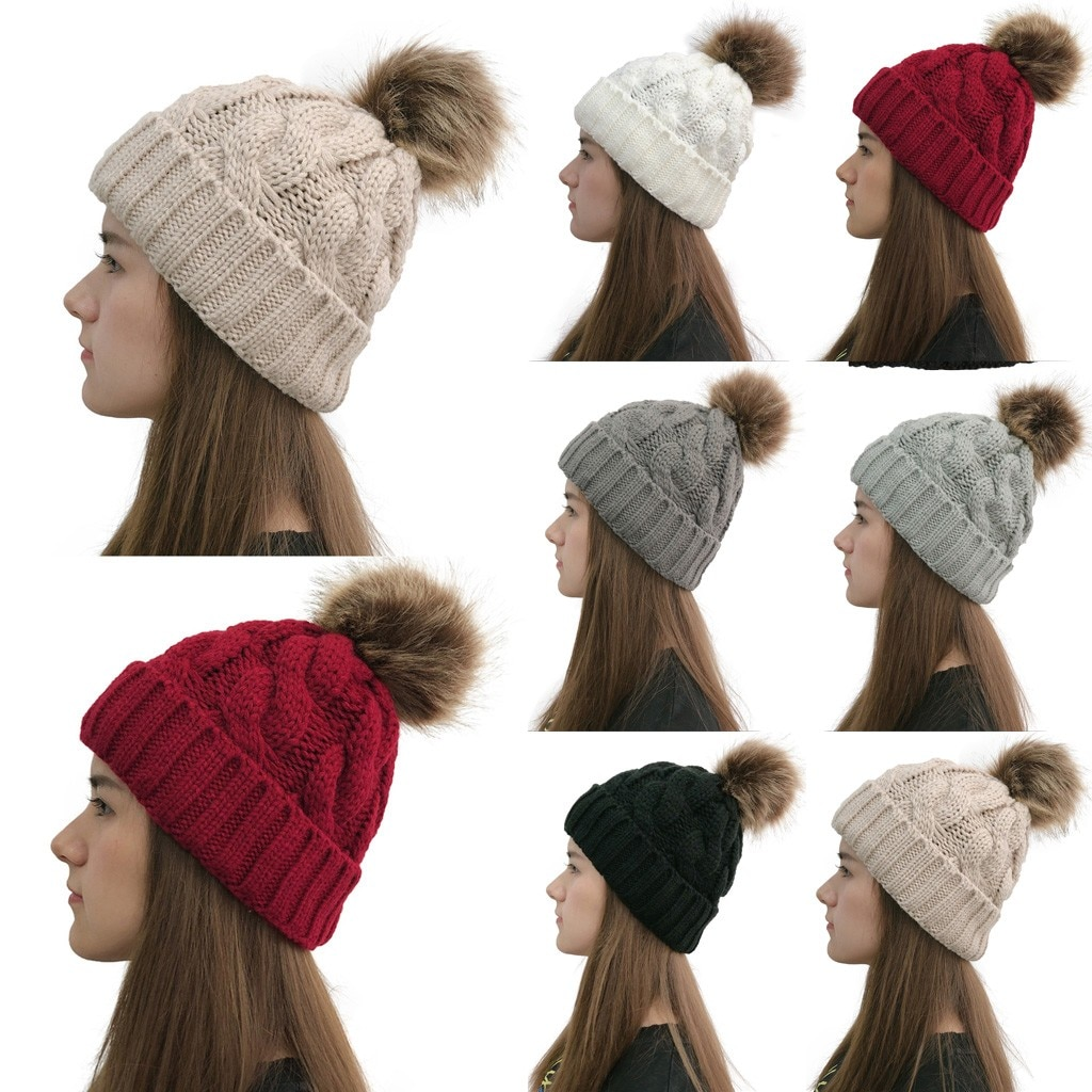 Chapéus para mulheres inverno 2019 rússia venda quente inverno real pele beanies chapéu feminino crochê malha gorro