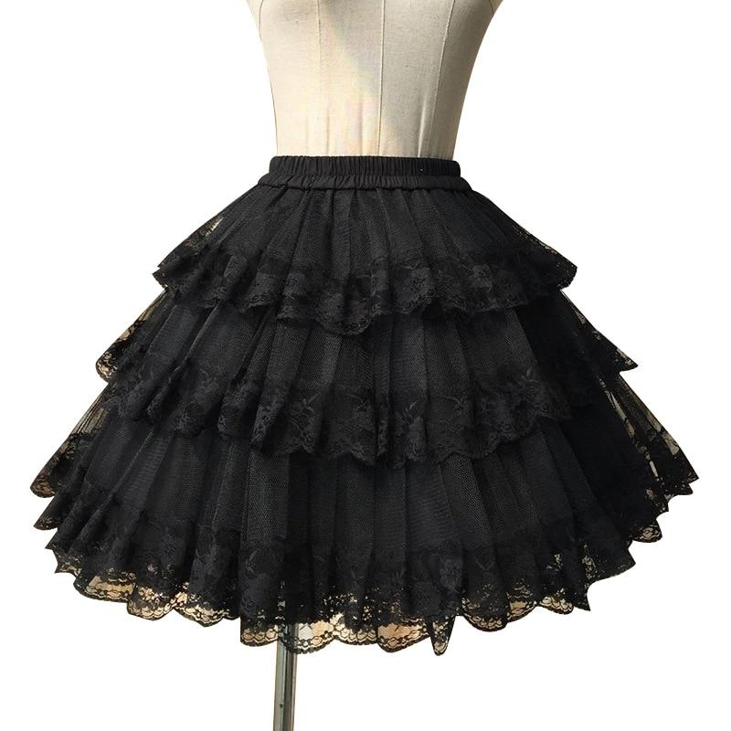 Blanco suave/Negro falda cosplay de tres capas de encaje Lolita enagua/falda tutú