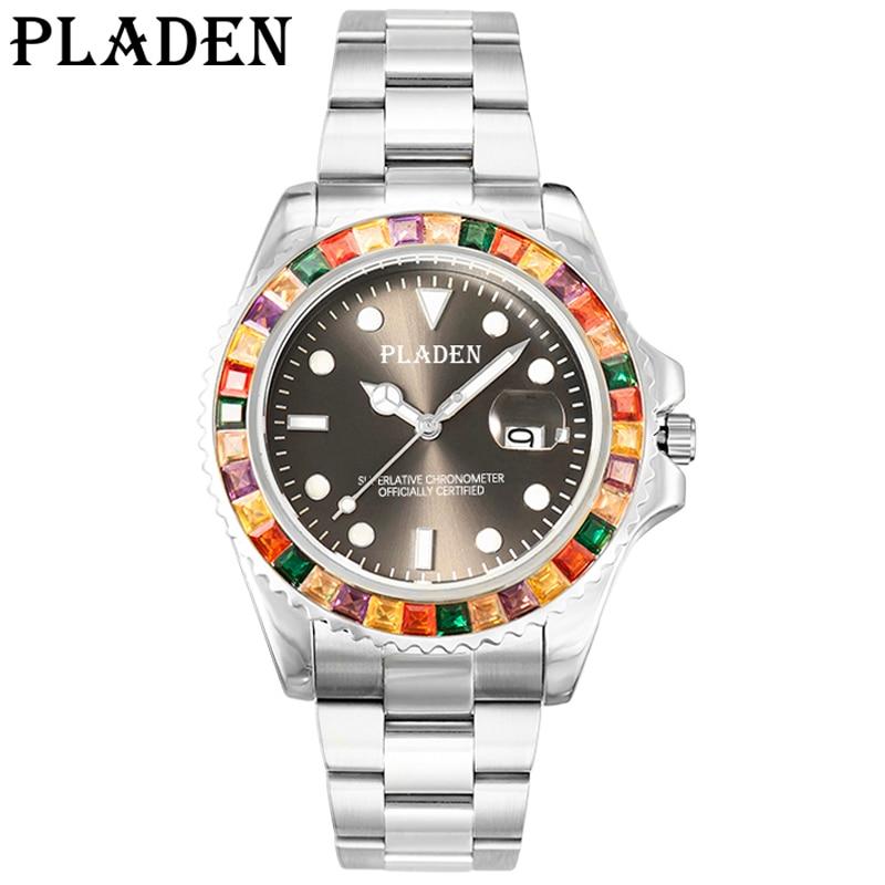 PLADEN Men's Quartz Wrist Watches Top Business Waterproof Luminous Male Clock Sliver Stainless Steel Strap Auto Date Timepiece