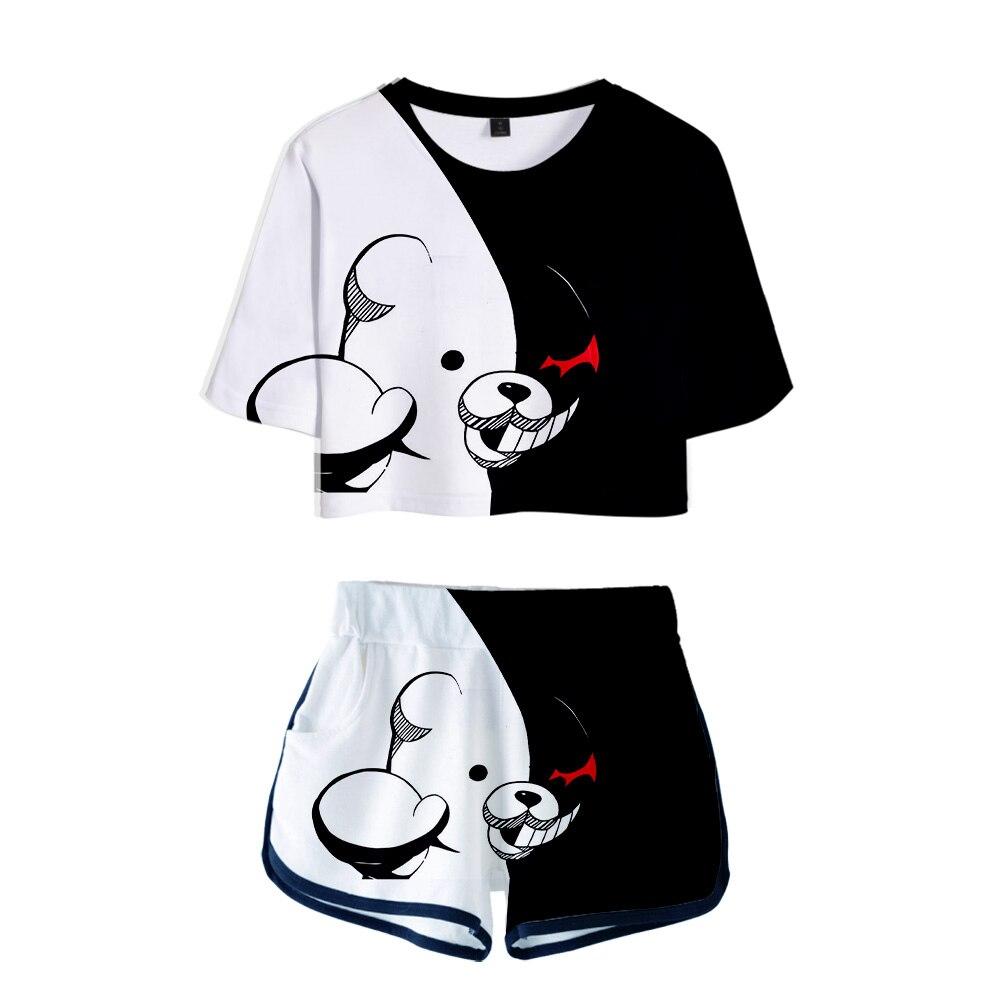 Anime Danganronpa Monokuma Cosplay Costumes 3D Two Piece Set Women Shorts and Tshirt Streetwear Bear Tracksuit Funny Black White