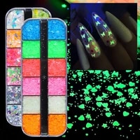 nail art 12 shapes glitter sequins nail art flakes glow in the dark acrylic paillettes nail decals ultra thin bright light
