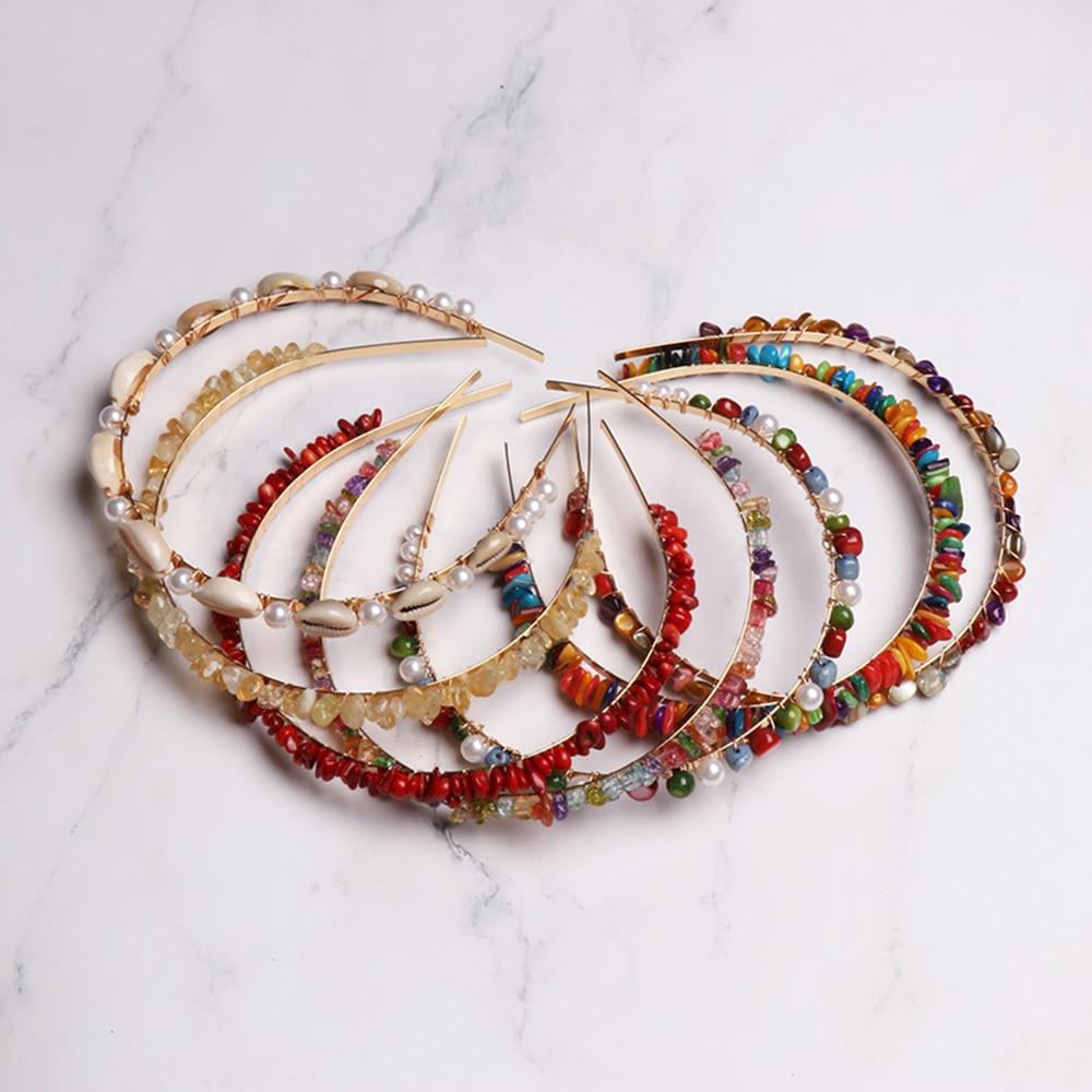 Boho Handmade Trançado Colorido Pedras Imitiation Pérola Concha Hairbands Headbands Faixas de Cabelo Acessórios Para o Cabelo de Praia No Verão