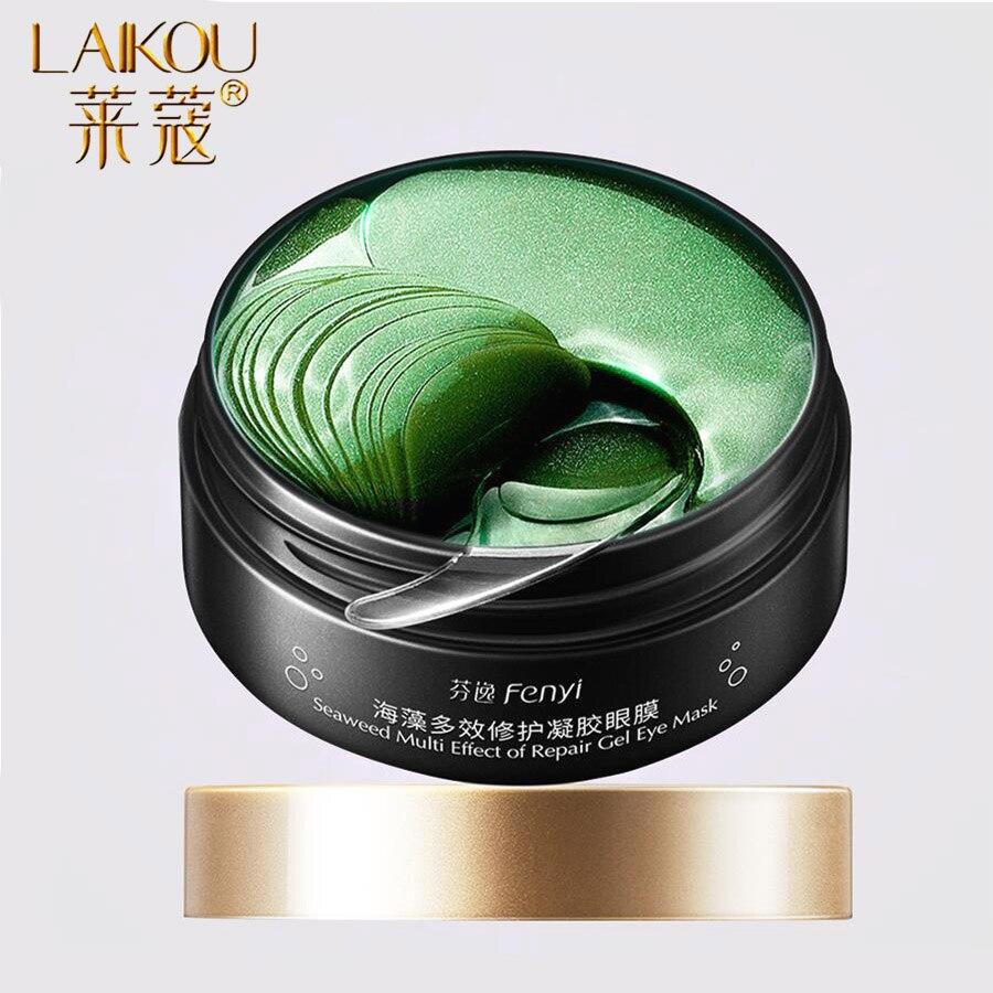 LAIKOU 60PCS Green Eye Mask Hydrogel Patch Wrinkle Eyes Bags Face Skin Care Anti Wrinkle Dark Circles Crystal Eye Gel Mask Cream